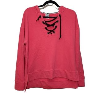 VS PINK Love Pink Hot Pink Lace Up Hoodie sz S